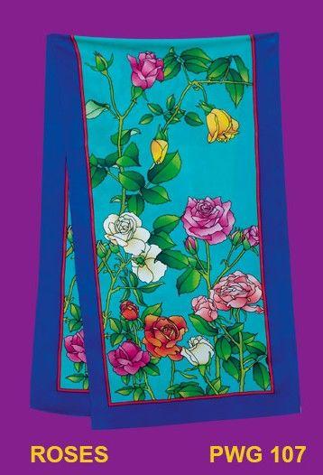 Roses écharpe 145x43 cm pongée N°9