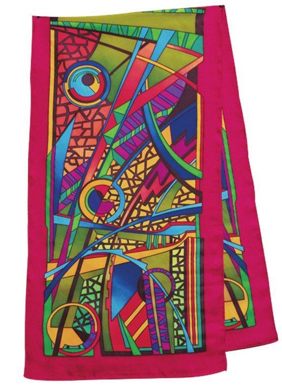 Abstrait écharpe 145x43 cm pongée N°9