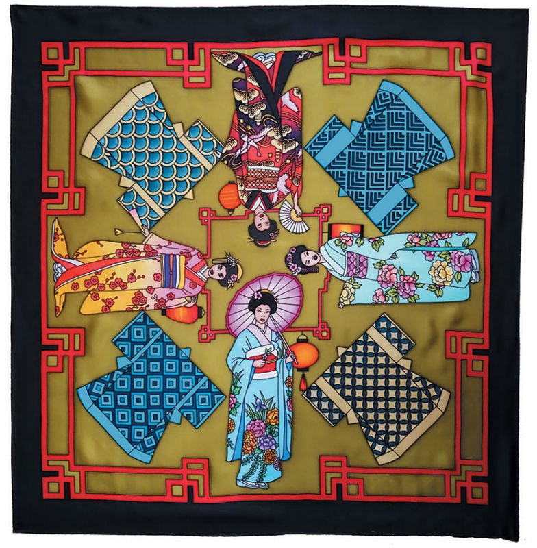 Geishas carré 90x90 cm pongée N°9