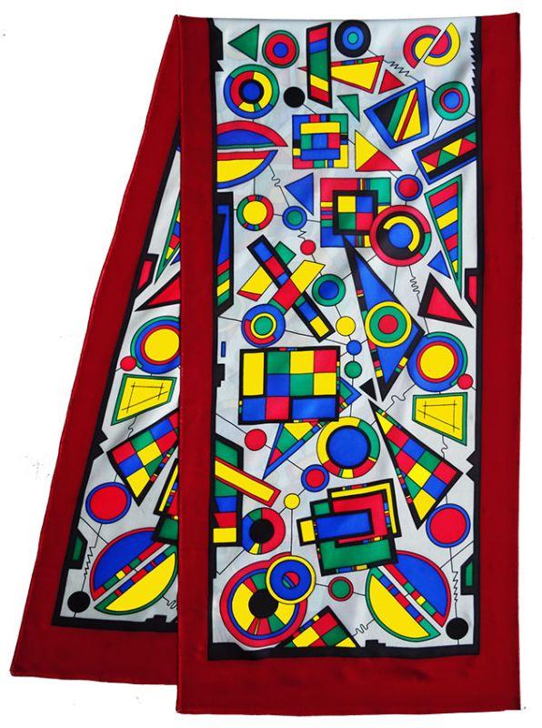 Geometric pashmina 180 x 43 cm pongée N°9