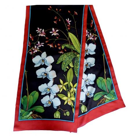 Orchidée pashmina 180 x 43 cm pongée N°9